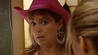 Monica wearing a pink cowboy hat
