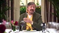 Stephen Fry Gadget Man: Stephen Fry at a dining room table