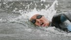 A female swimmer in action